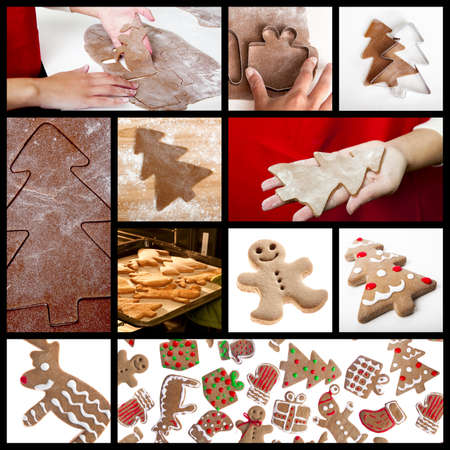 Christmas theme collage with picture of homemade gingerbread cookies photo