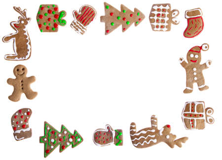 Homemade Gingerbread cookies with different shapes isolated on white background Stock Photo - 8372334