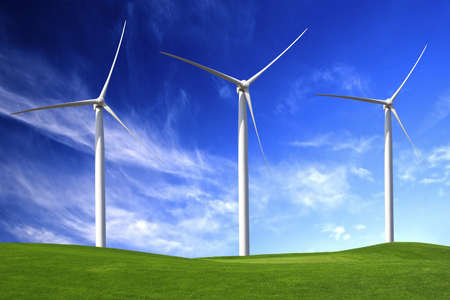 wind farm: Clean energy being generated by a windmills park