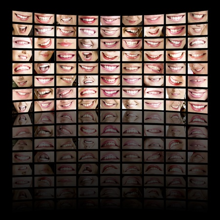 Large tv panel compound by a lot of screens displaying people smiles.  All images © Erik Reis (IKOstudios) photo