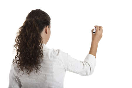 Young businesswoman drawing something, copyspace for the designer photo