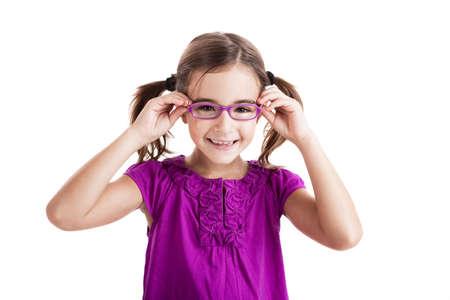 Beautiful girl wearing glasses isolated on white photo