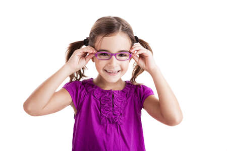 women children: Beautiful girl wearing glasses isolated on white