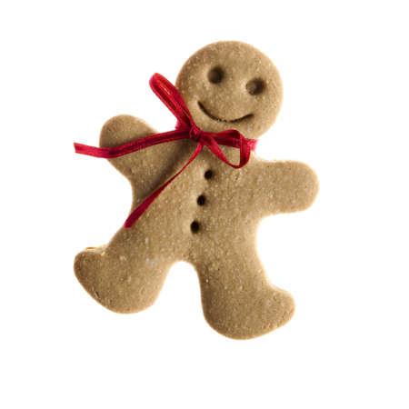 galleta de jengibre: Cookie de hombre de jengibre casero aislado sobre fondo blanco Foto de archivo