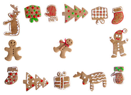 Homemade Gingerbread cookies with different shapes isolated on white background photo