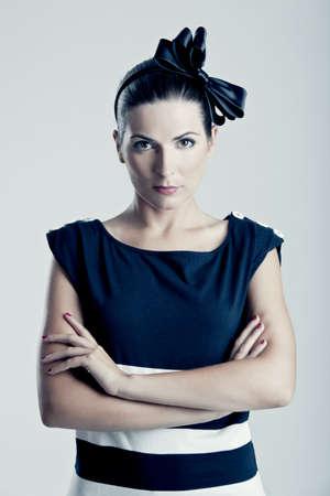 Portrait of a beautiful young fashion woman posing photo