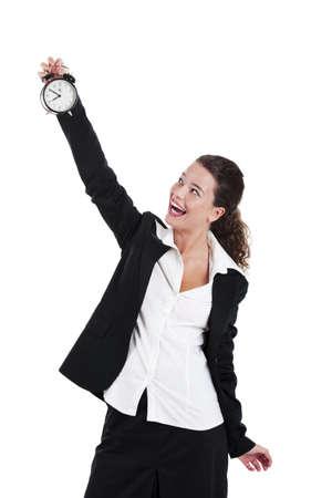 woman clock: Retrato de la joven y hermosa empresaria sosteniendo un reloj