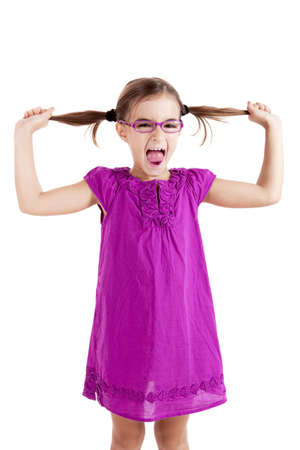 grabing: Girl pulling her hair out, isolated on white background