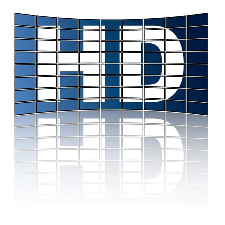 Large tv panel compound by a lot of screens with the word HD photo