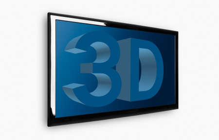 Modern 3D LED TV on a white wall photo