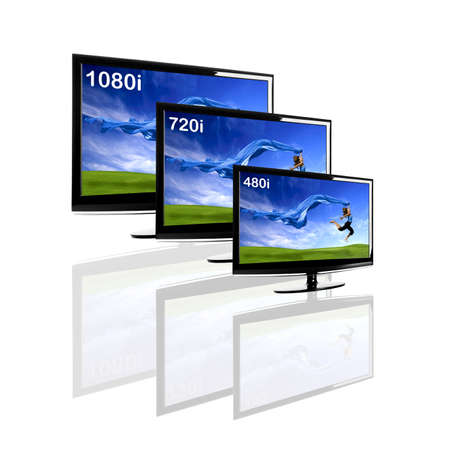 Comparison between 3 TV showing the same image in different resolutions and sizes Stock Photo - 8875964