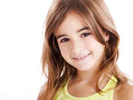 pretty little girl: Portrait of a beautiful girl isolated one white Stock Photo
