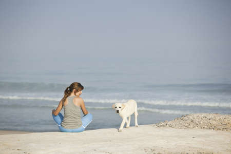 Girl enjoying the day in the company of her cute Labrador retriever puppy  photo