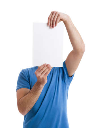 front view: Young guy holding a blank bill board over face isolated on white  Stock Photo