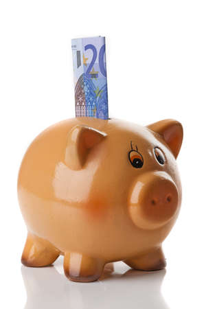 Piggy bank isolated over a white background photo