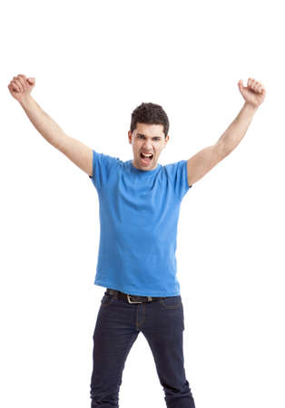 arms up: Happy young man with arms up isolated on a white background  Stock Photo