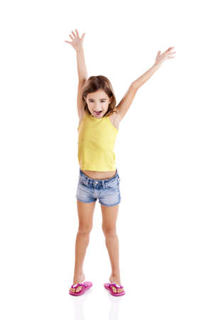 arms in air: Portrait of a beautiful and confident girl with arms on the air, isolated one white Stock Photo