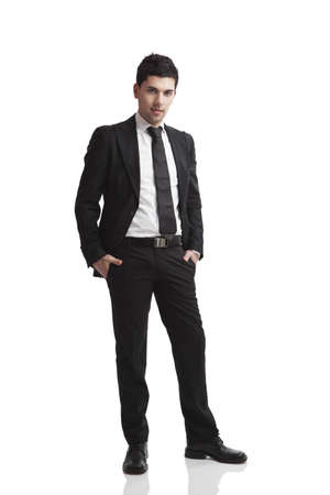 full suit: Studio portrait of a young businessman isolated over a white background