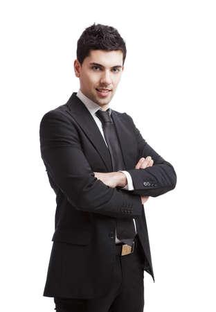 Studio Portrait über einen weißen Hintergrund isoliert jung kaufmann