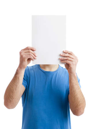 bill board: Young guy holding a blank bill board over face isolated on white  Stock Photo