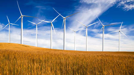 Clean energy being generated by a windmills park Stock Photo - 9645965