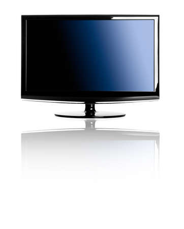 Modern lcd TV isolated over a white background with reflection photo