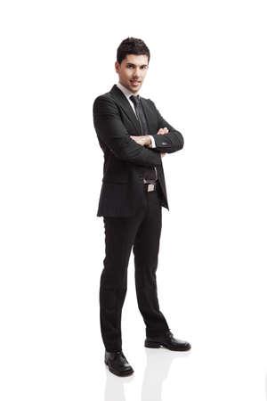persona de pie: Retrato de estudio de un joven empresario aislado sobre fondo blanco Foto de archivo