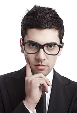 Portrait of a young and fashion businessman with nerd glasses Stock Photo - 10627203