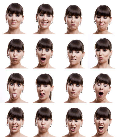 emotions faces: Multiple close-up portraits of the same woman in different emotions and expressions Stock Photo