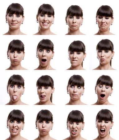 caras emociones: Varios retratos de primeros planos de la misma mujer en diferentes emociones y expresiones Foto de archivo