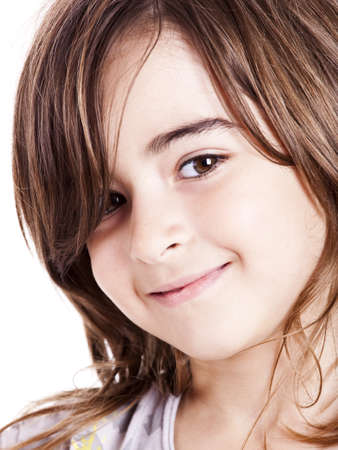 Portrait of a cute little girl isolated over white backgorund Stock Photo - 10945252