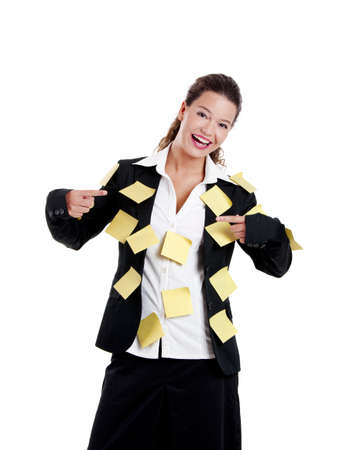 posits: Businesswoman with yellow pos-its, isolated on wh