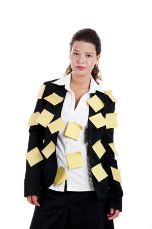 posits: Businesswoman with yellow pos-its, isolated on white Stock Photo