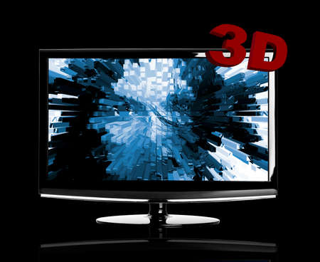 Modern 3D LED TV isolated on black showing a 3D movie photo