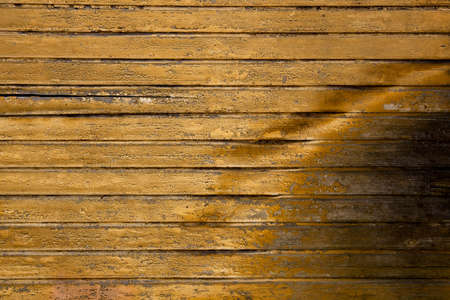 degraded: Background picture made of old yellow wood boards Stock Photo