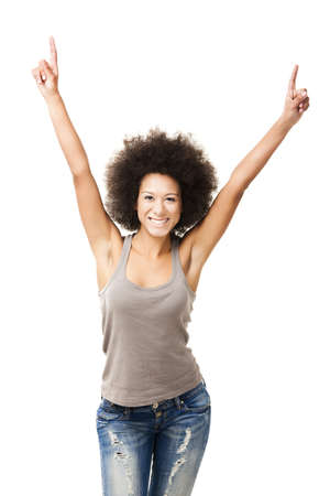 Happy Afro-American young woman isolated on white with arms on the air Stock Photo - 12165422