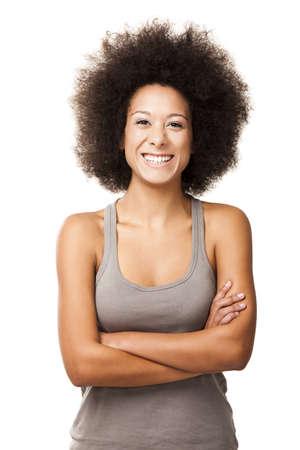 Happy Afro-American young woman isolated on white laughing Stock Photo - 12165370