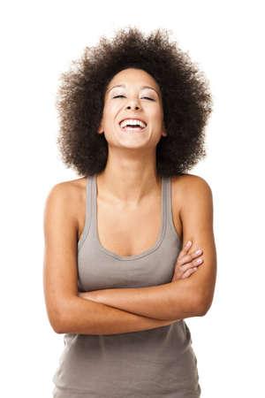Glücklich afro-amerikanische junge Frau auf weißem lachend isoliert Standard-Bild