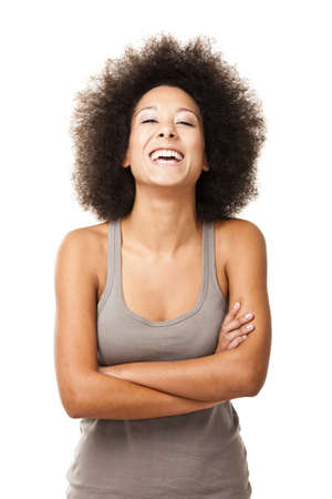 Happy Afro-American young woman isolated on white laughing Stock Photo - 12165411