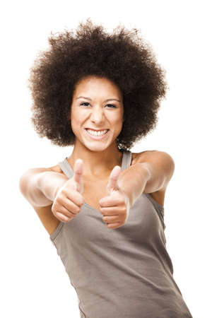 Happy Afro-American young woman isolated on white doing a thumbs-up signal with her hand Stock Photo - 12165371