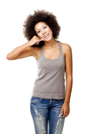Beautiful Afro-American woman showing the call sign, isolated on white Stock Photo - 12165401