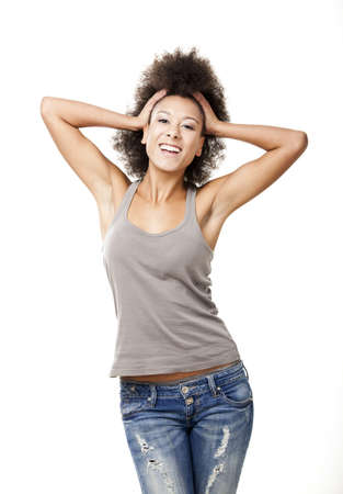 Happy Afro-American young woman isolated on white Stock Photo - 12165393