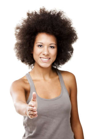 Beautiful Afro-American woman giving a handshake, isolated on white background Stock Photo - 12165399