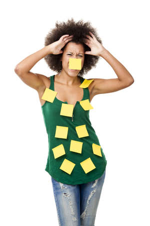 Beautiful young woman covered with post it notes all over the body, isolated on white background Stock Photo - 12436261