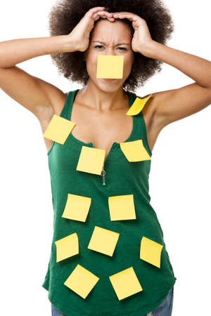 Beautiful young woman covered with post it notes all over the body, isolated on white background photo