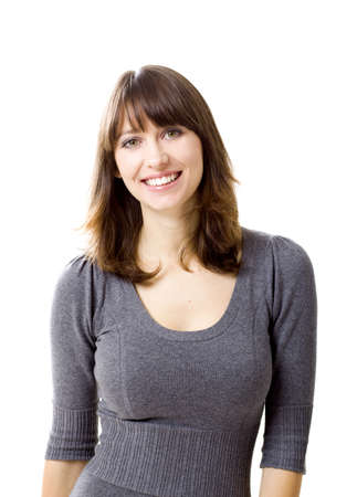 woman smiling: Portrait of a beautiful young woman looking at the camera and smiling, isolated on a white background