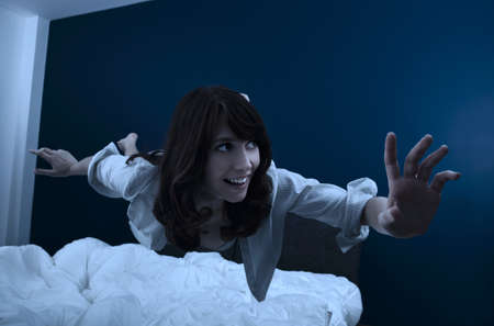 fluctuate: Conceptual image of a beautiful young woman fluctuate while dreaming Stock Photo