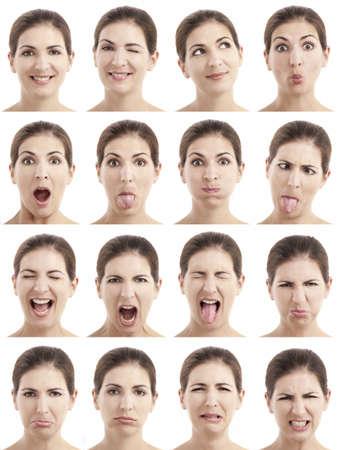 Meerdere close-up portretten van dezelfde vrouw te drukken verschillende emoties en uitdrukkingen