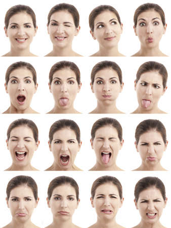 expression: Multiple close-up portraits of the same woman expressing different emotions and expressions
