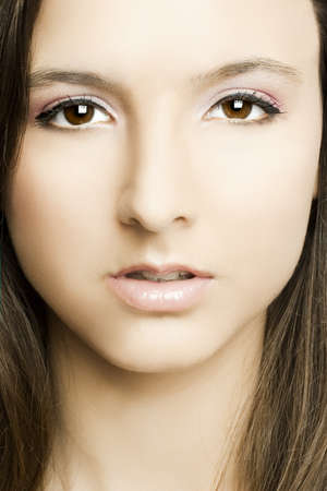 Close-up of beautiful woman face with perfect makeup  photo